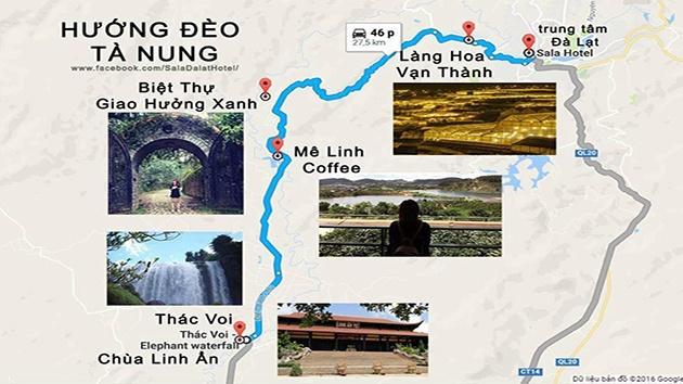 Bản đồ du lịch Đà Lạt hướng đèo Tà Nung