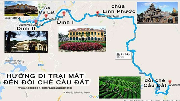 Bản đồ du lịch Đà Lạt hướng Đồi chè Cầu Đất