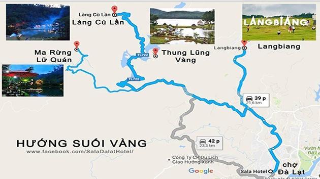 Bản đồ du lịch Đà Lạt hướng Suối Vàng