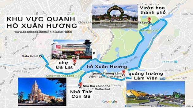 Bản đồ du lịch Đà Lạt hướng trung tâm