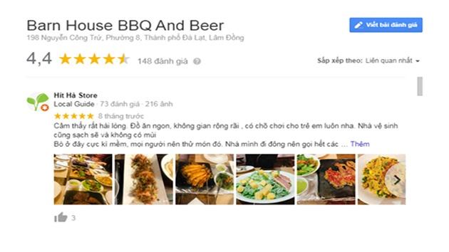 Đánh giá Barn House BBQ and  BEER