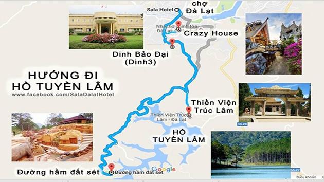 Hướng dẫn đường đến hồ Tuyền Lâm