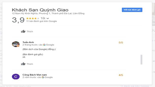 Đánh giá khách sạn Quỳnh Giao